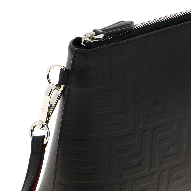 Pochette Fendi in pelle liscia con monogramma FF embossed all over nero 4