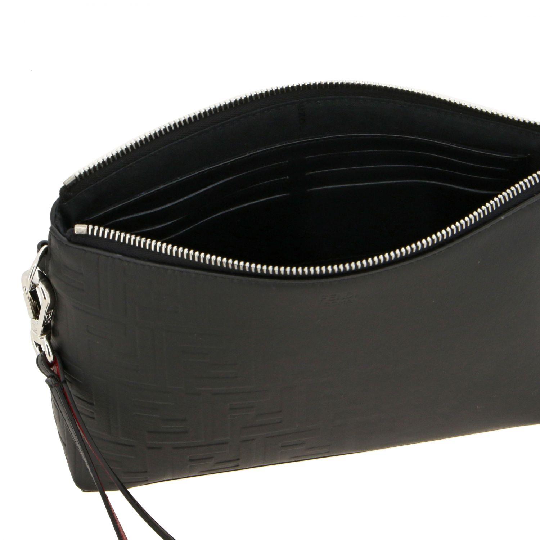 Pochette Fendi in pelle liscia con monogramma FF embossed all over nero 5
