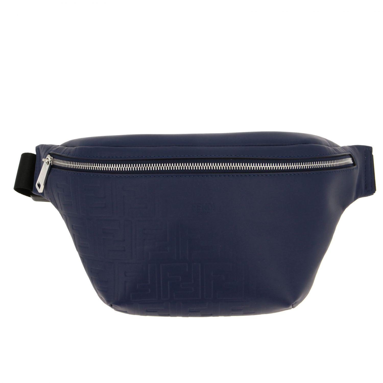 Fendi leather belt bag with embossed all over FF monogram blue 1