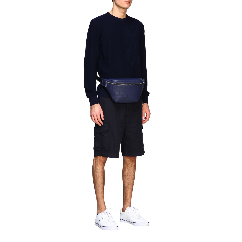 Fendi leather belt bag with embossed all over FF monogram blue 2