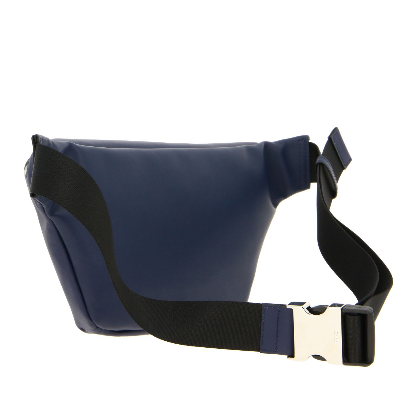 Fendi leather belt bag with embossed all over FF monogram blue 3