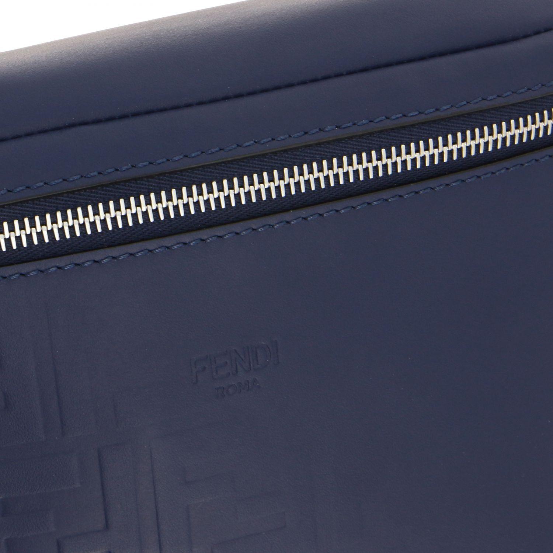 Fendi leather belt bag with embossed all over FF monogram blue 4
