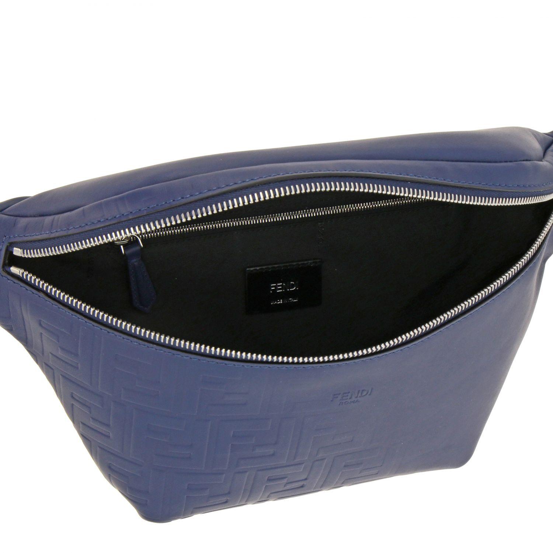 Fendi leather belt bag with embossed all over FF monogram blue 5