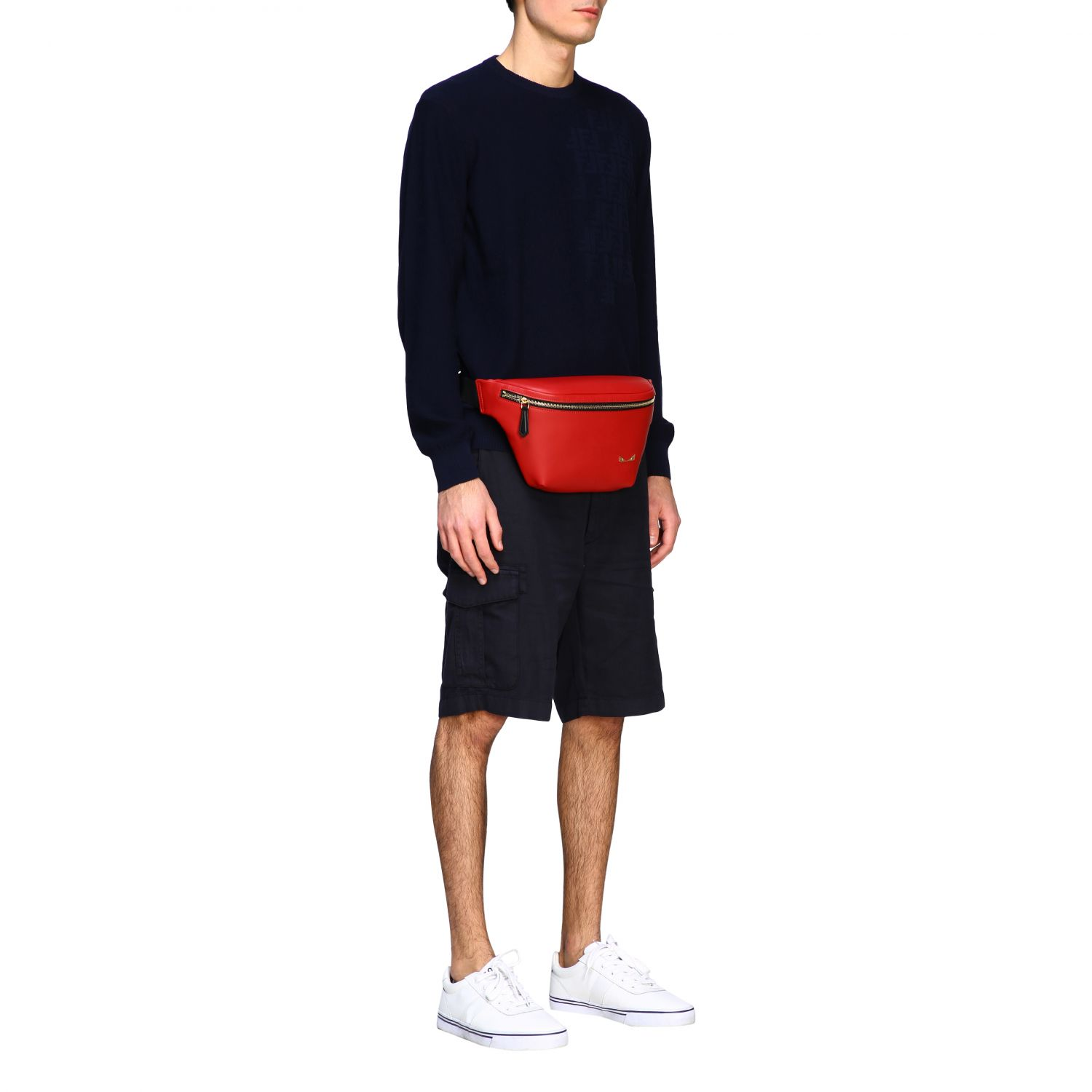 Fendi belt bag in smooth leather with mini bugs red 2