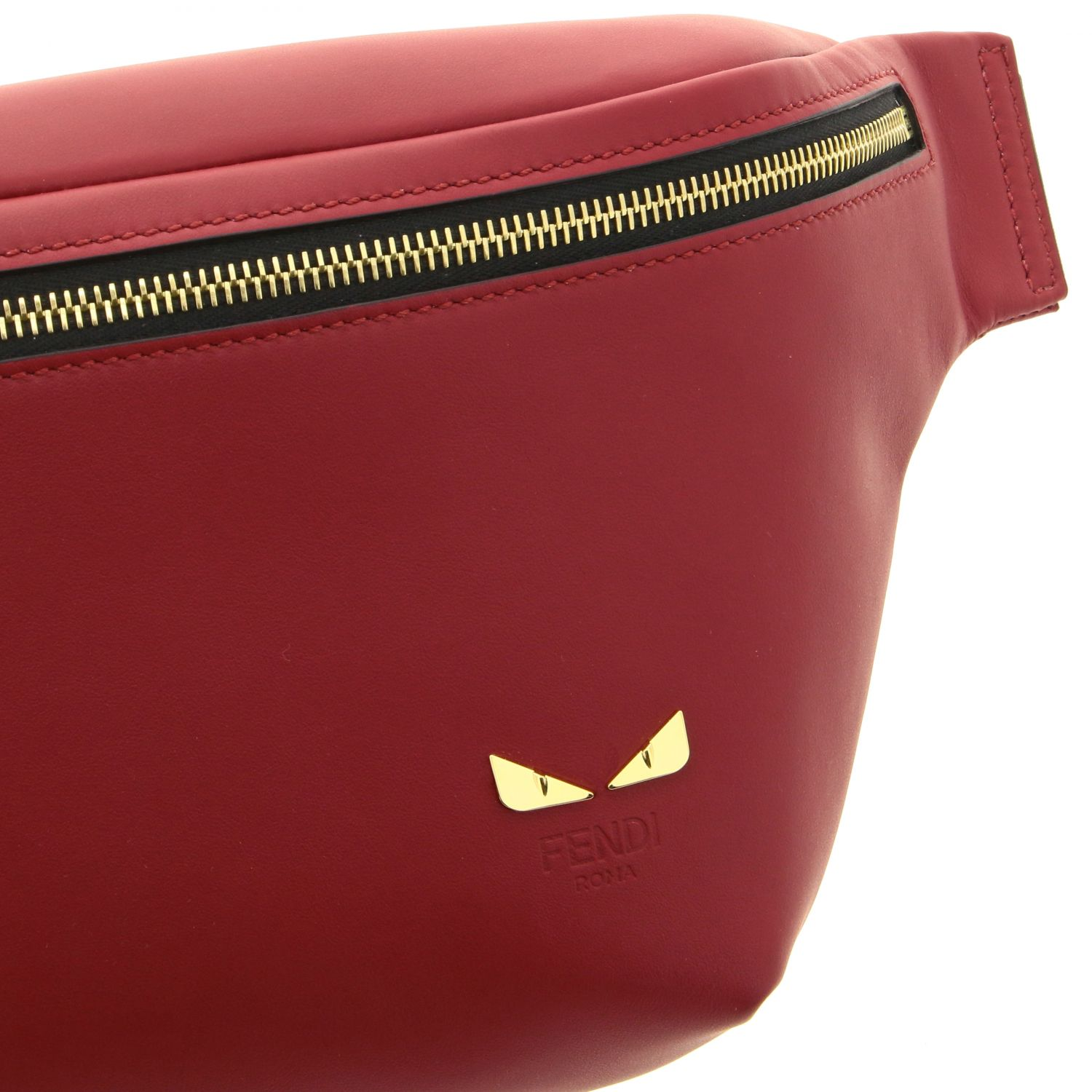 Fendi belt bag in smooth leather with mini bugs red 4