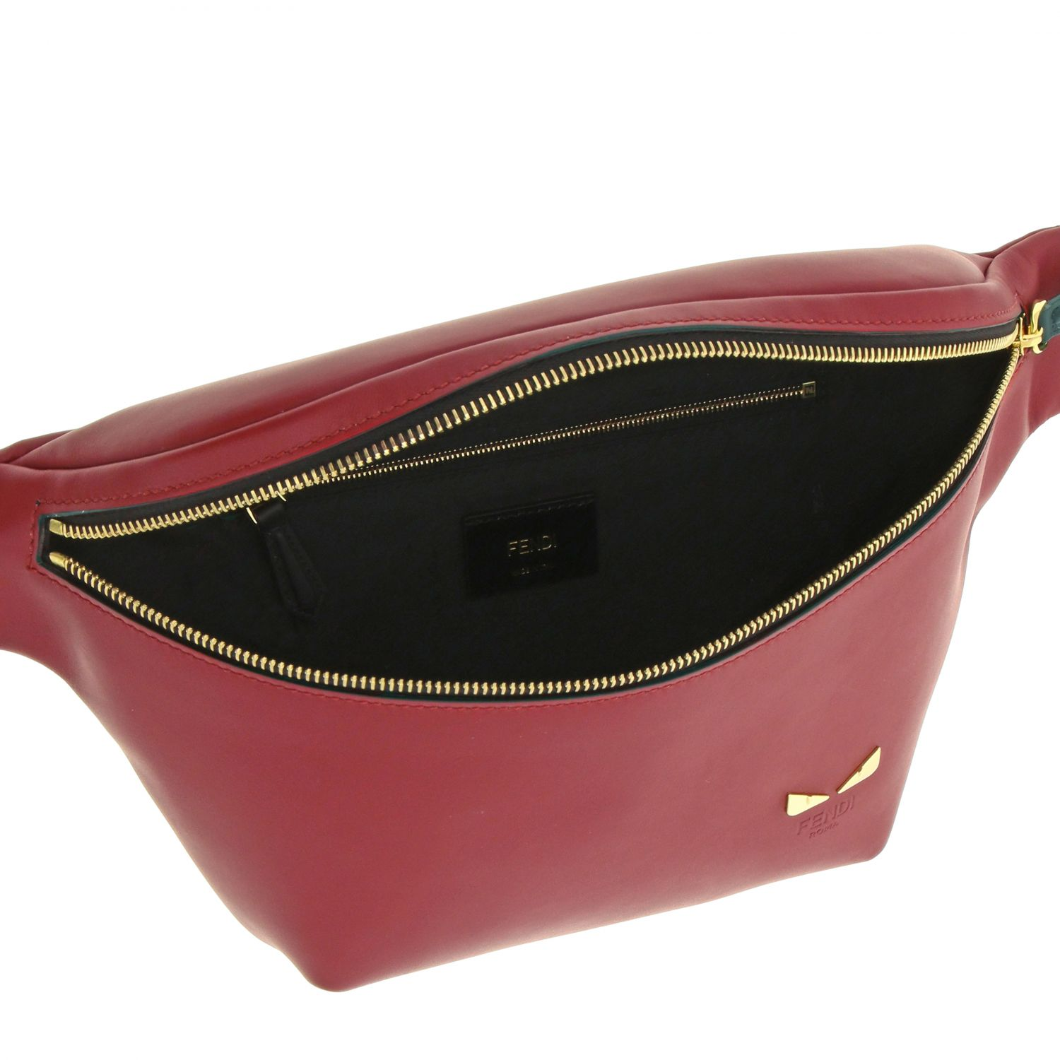 Fendi belt bag in smooth leather with mini bugs red 5