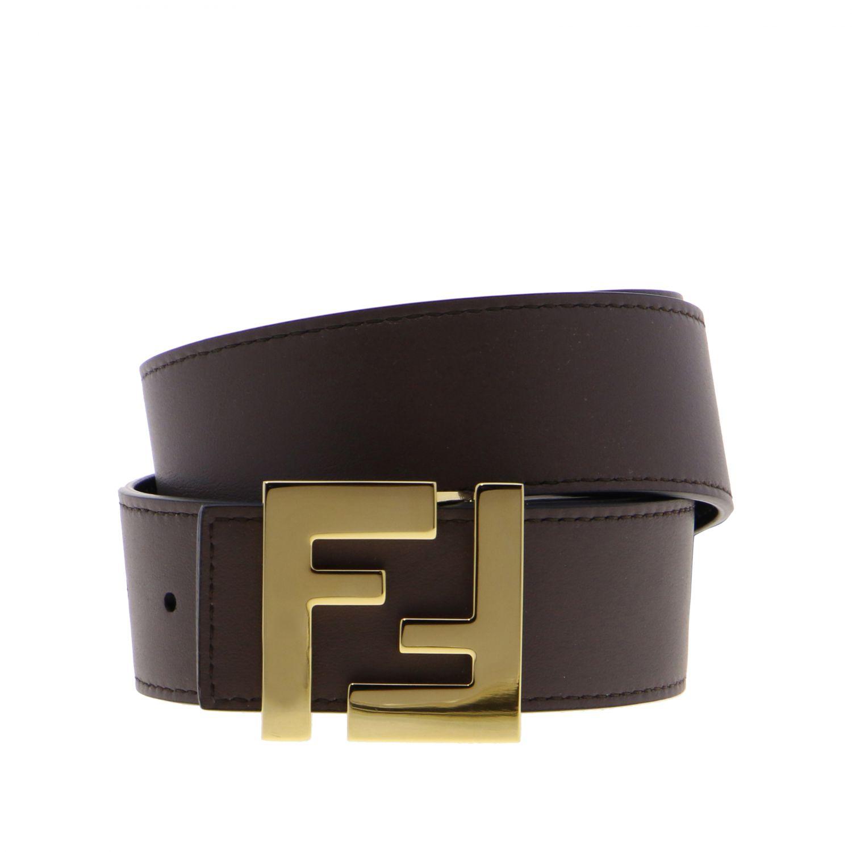 Cintura Fendi in pelle reversibile con fibbia FF nero 2