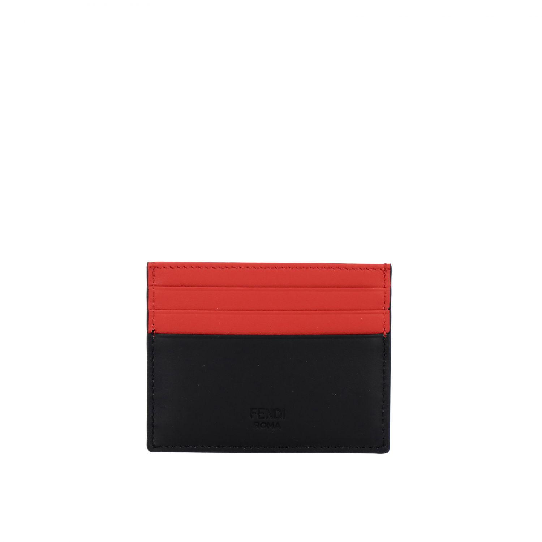 Porta carte di credito in pelle con Bugs Fendi nero 2