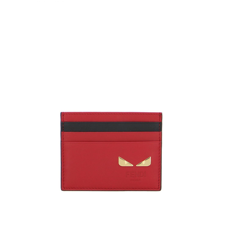 Fendi Kreditkartenetui aus Leder mit Fendi Bugs rot 1