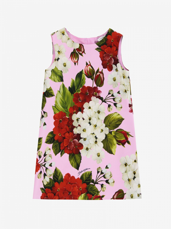 Robe Dolce & Gabbana en cady à motifs floraux rose 1