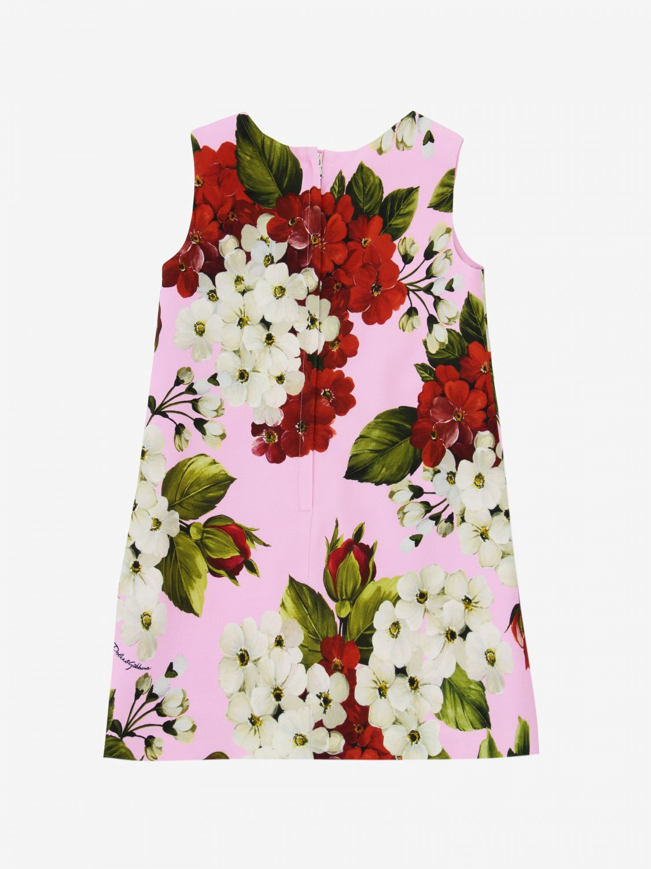 Robe Dolce & Gabbana en cady à motifs floraux rose 2