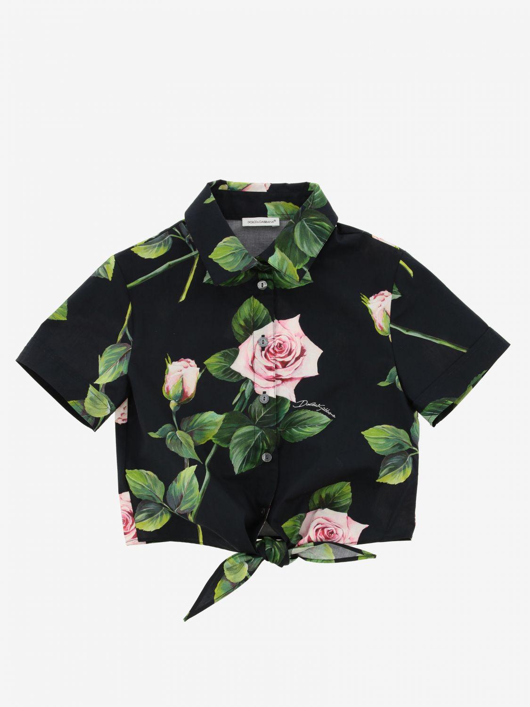 Chemise Dolce & Gabbana à motif floral rose 1