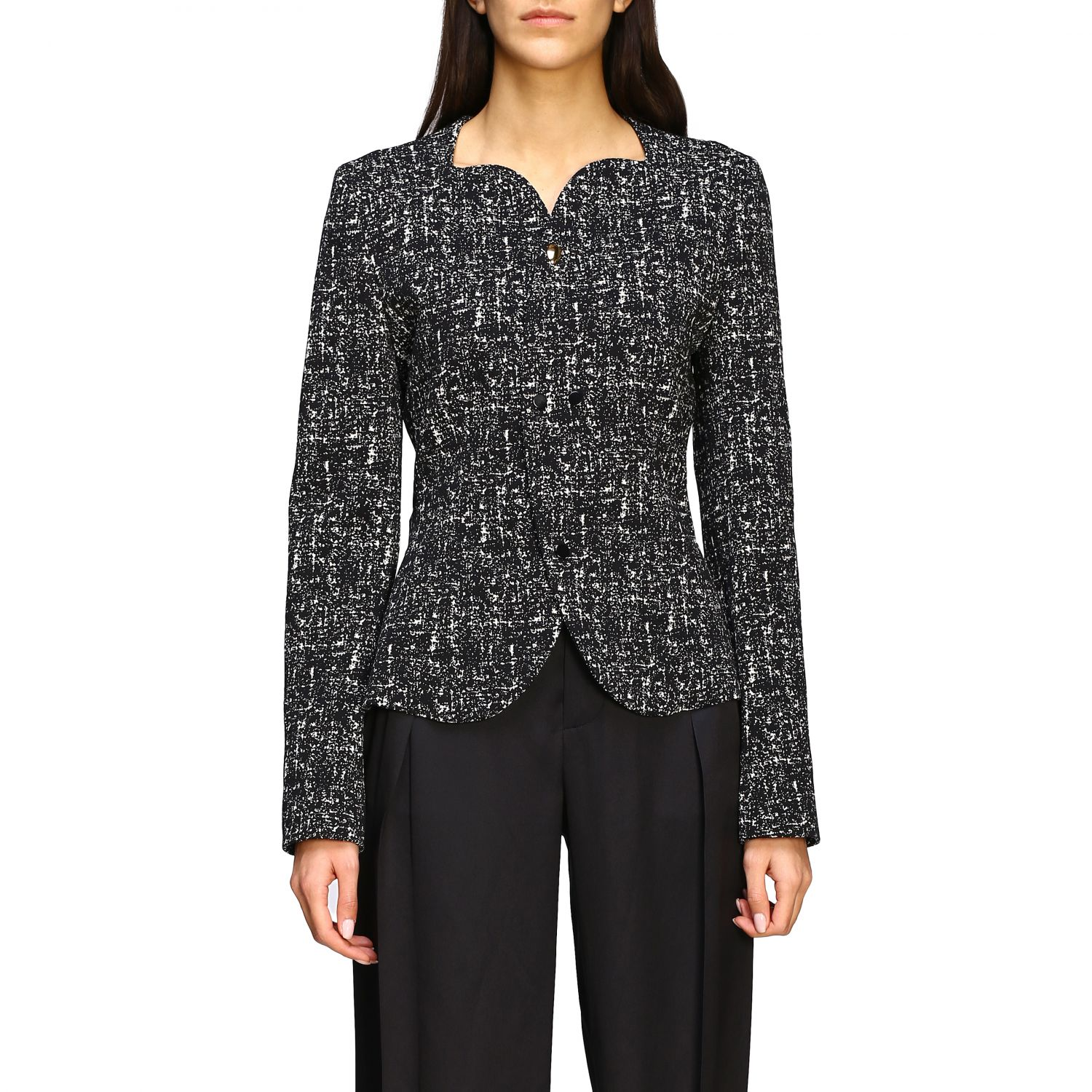 Bottega Veneta jacket in blend bouclé wool black 1