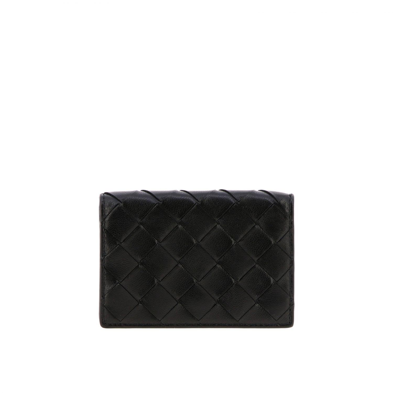 Bottega Veneta Geldbörse aus geflochtenem Leder schwarz 1