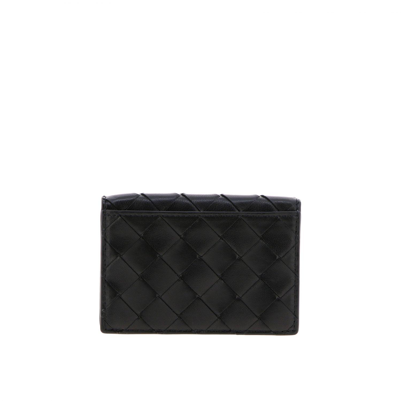 Bottega Veneta Geldbörse aus geflochtenem Leder schwarz 2
