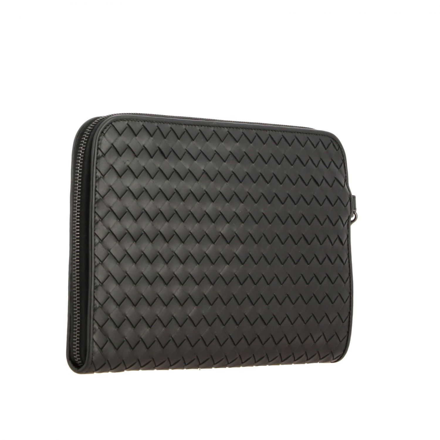 Clutch Bottega Veneta in pelle intrecciata nero 3