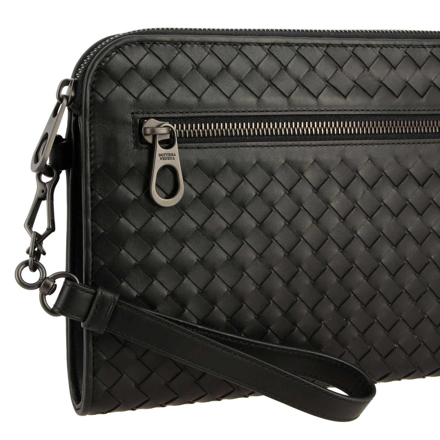 Clutch Bottega Veneta in pelle intrecciata nero 4