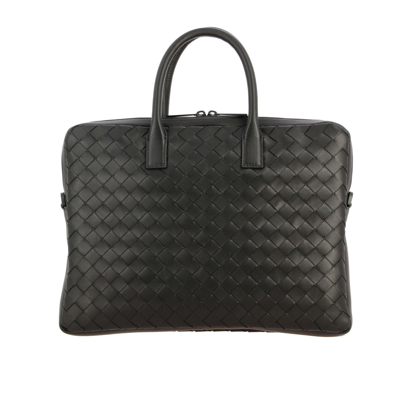 Tasche Bottega Veneta: Bottega Veneta Arbeitstasche aus gewebtem Leder schwarz 1