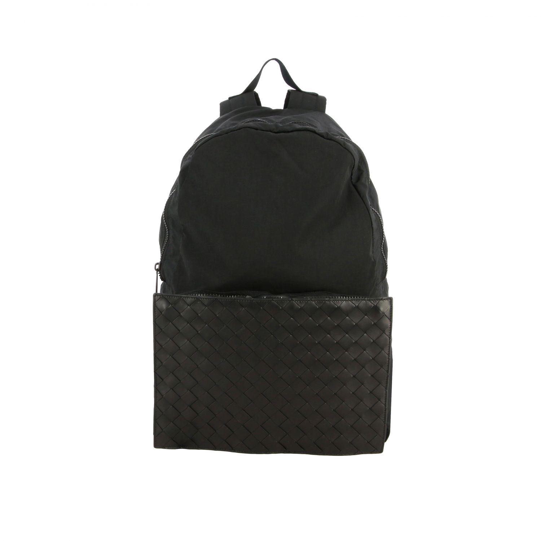Backpack Bottega Veneta: Bottega Veneta clutch bag / backpack in nylon and woven leather black 1