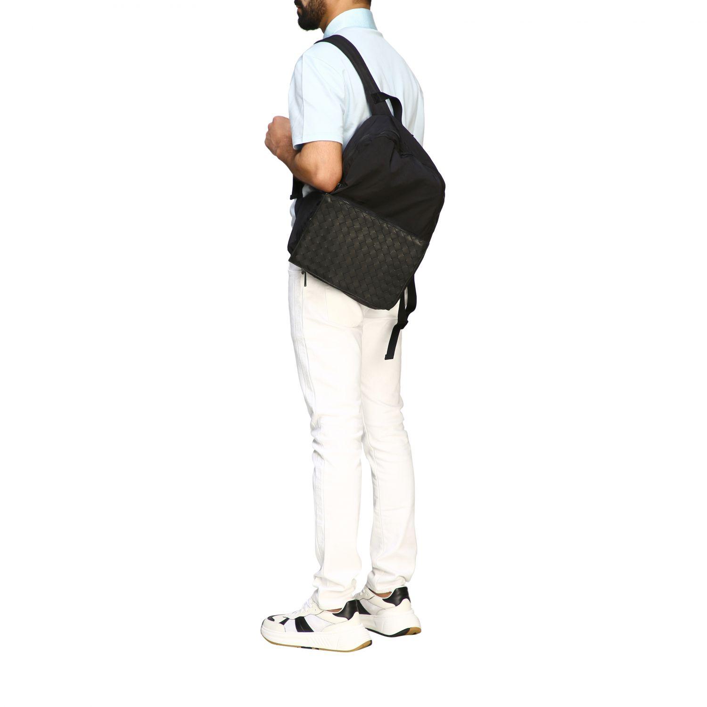 Rucksack Bottega Veneta: Bottega Veneta Clutch / Rucksack aus Nylon und gewebtem Leder schwarz 2