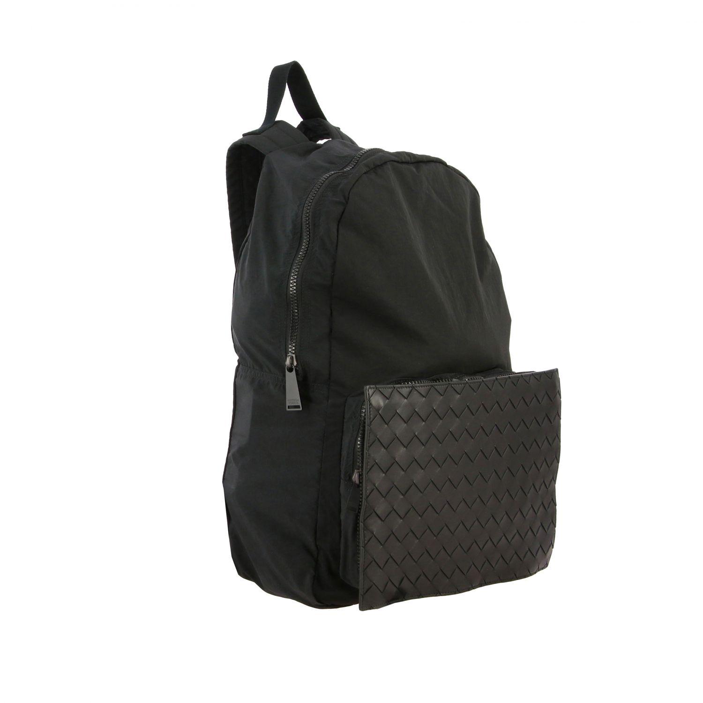 Backpack Bottega Veneta: Bottega Veneta clutch bag / backpack in nylon and woven leather black 3