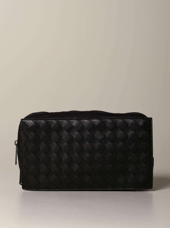 Bottega Veneta belt bag in woven leather and resealable nylon black 1