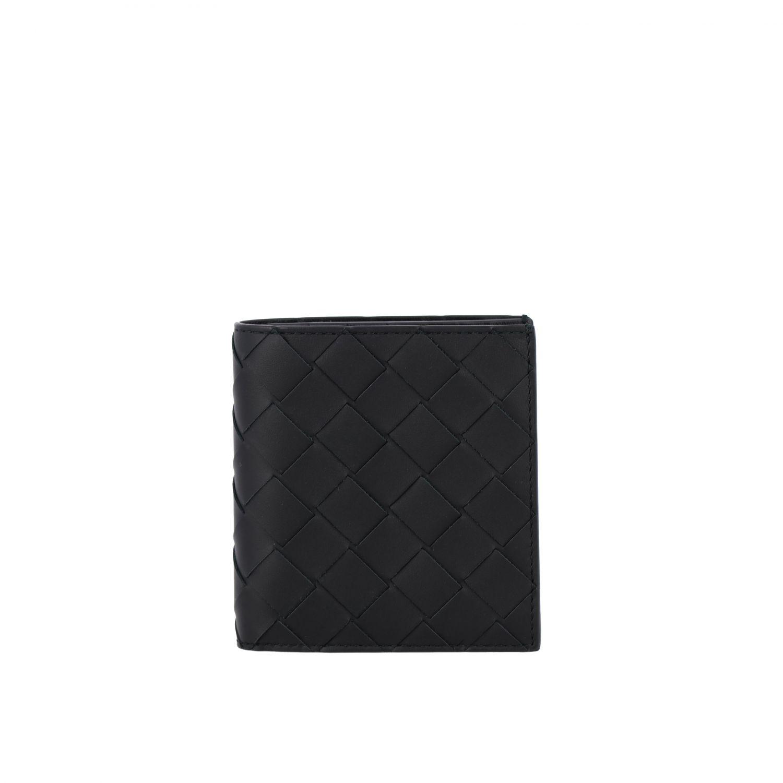 Portafoglio Bottega Veneta in pelle intrecciata nero 1