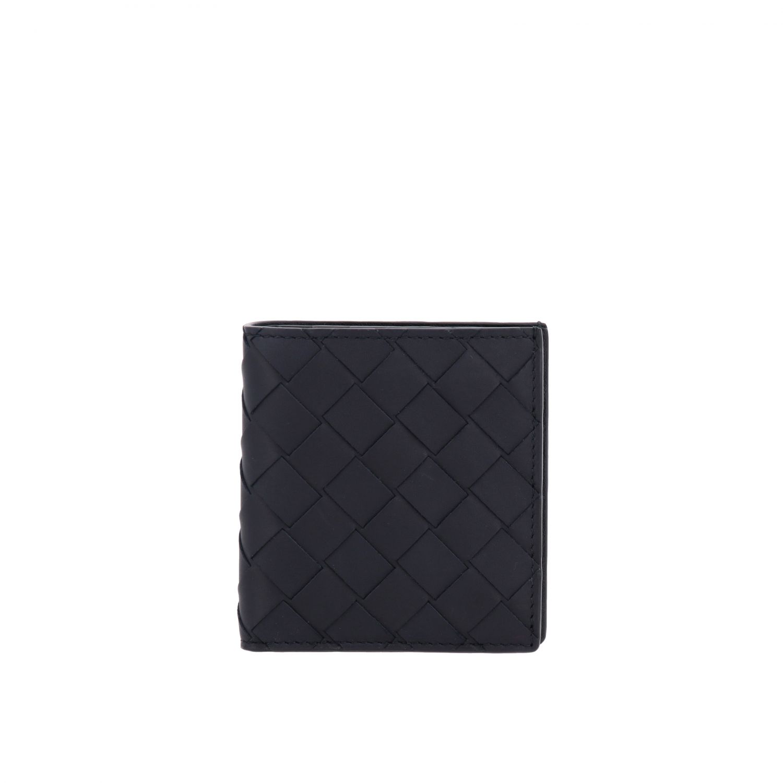 Bottega Veneta Geldbörse aus geflochtenem Leder blau 1
