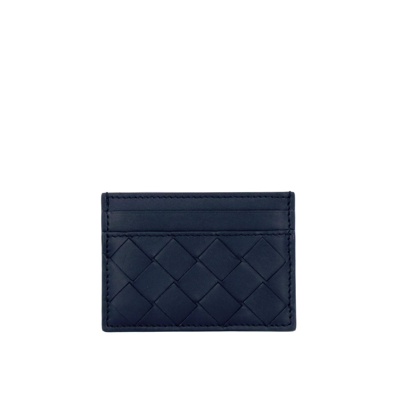 Porta carte di credito Bottega veneta in pelle intrecciata blue 1