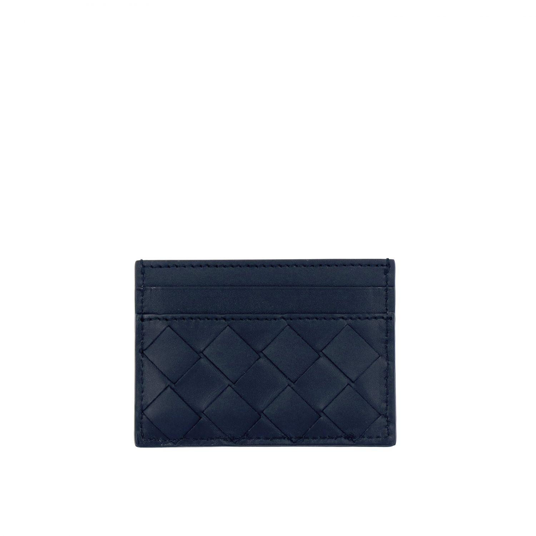 Porta carte di credito Bottega veneta in pelle intrecciata blue 2