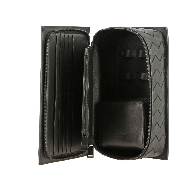 Beauty Case Bottega Veneta in pelle intrecciata nero 5