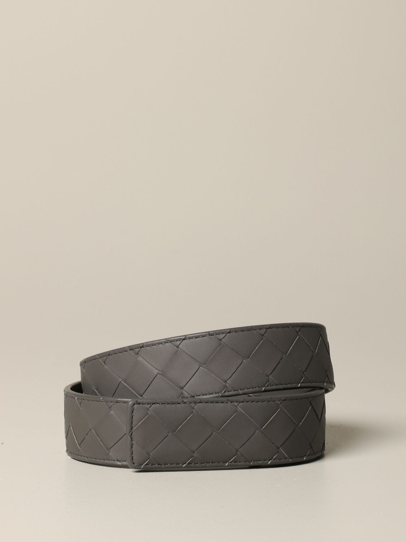 Bottega Veneta Gürtel aus gewebtem Leder grau 1