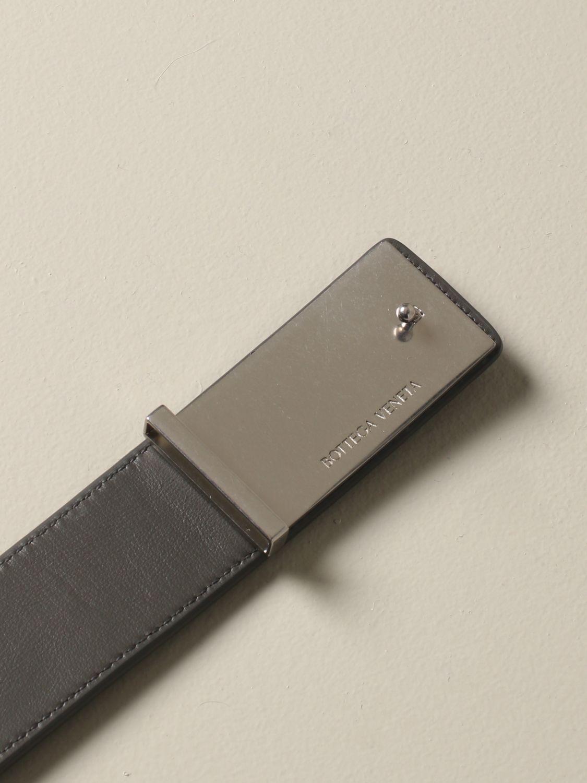 Bottega Veneta Gürtel aus gewebtem Leder grau 2