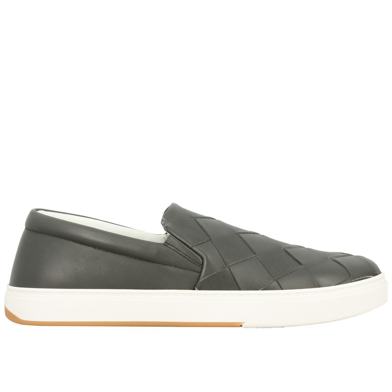 Sneakers Bottega Veneta: Bottega Veneta leather slip on sneakers with maxi weave grey 1