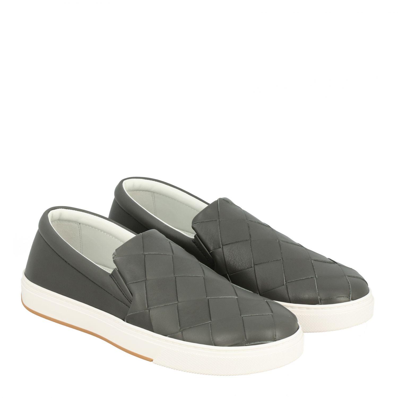 Sneakers Bottega Veneta: Bottega Veneta leather slip on sneakers with maxi weave grey 2
