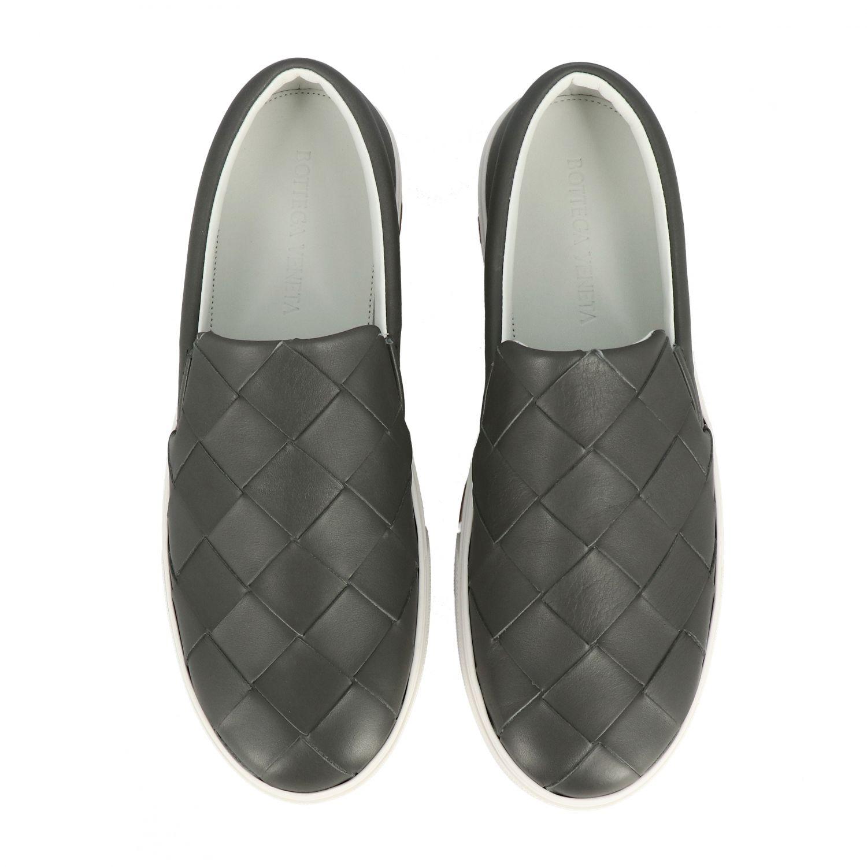 Sneakers Bottega Veneta: Bottega Veneta leather slip on sneakers with maxi weave grey 3