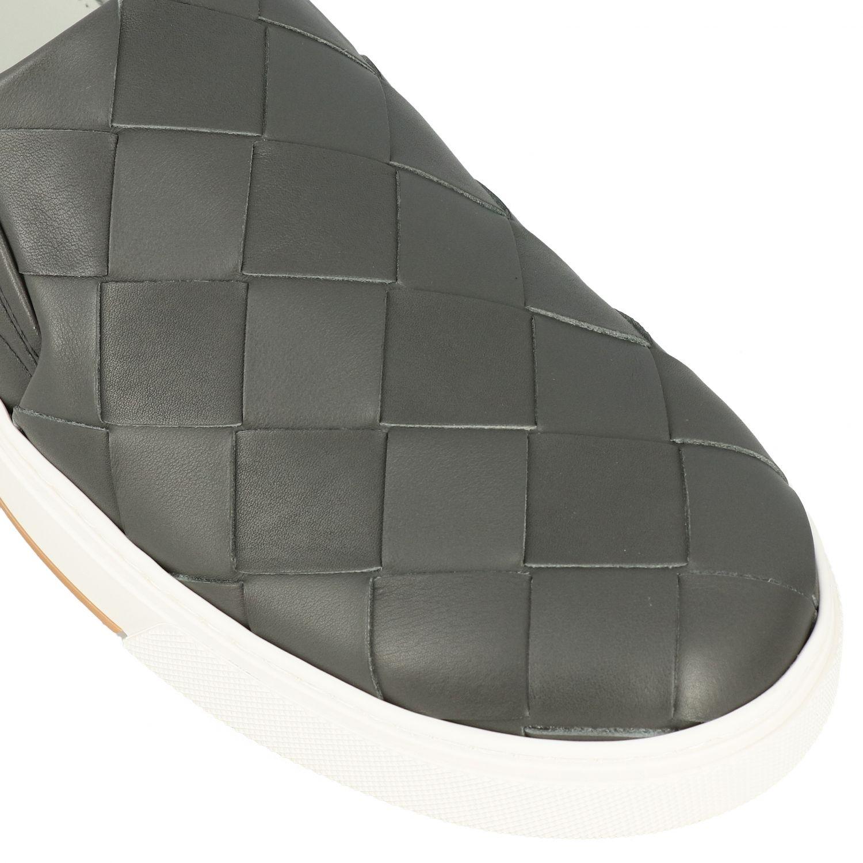 Sneakers Bottega Veneta: Bottega Veneta leather slip on sneakers with maxi weave grey 4