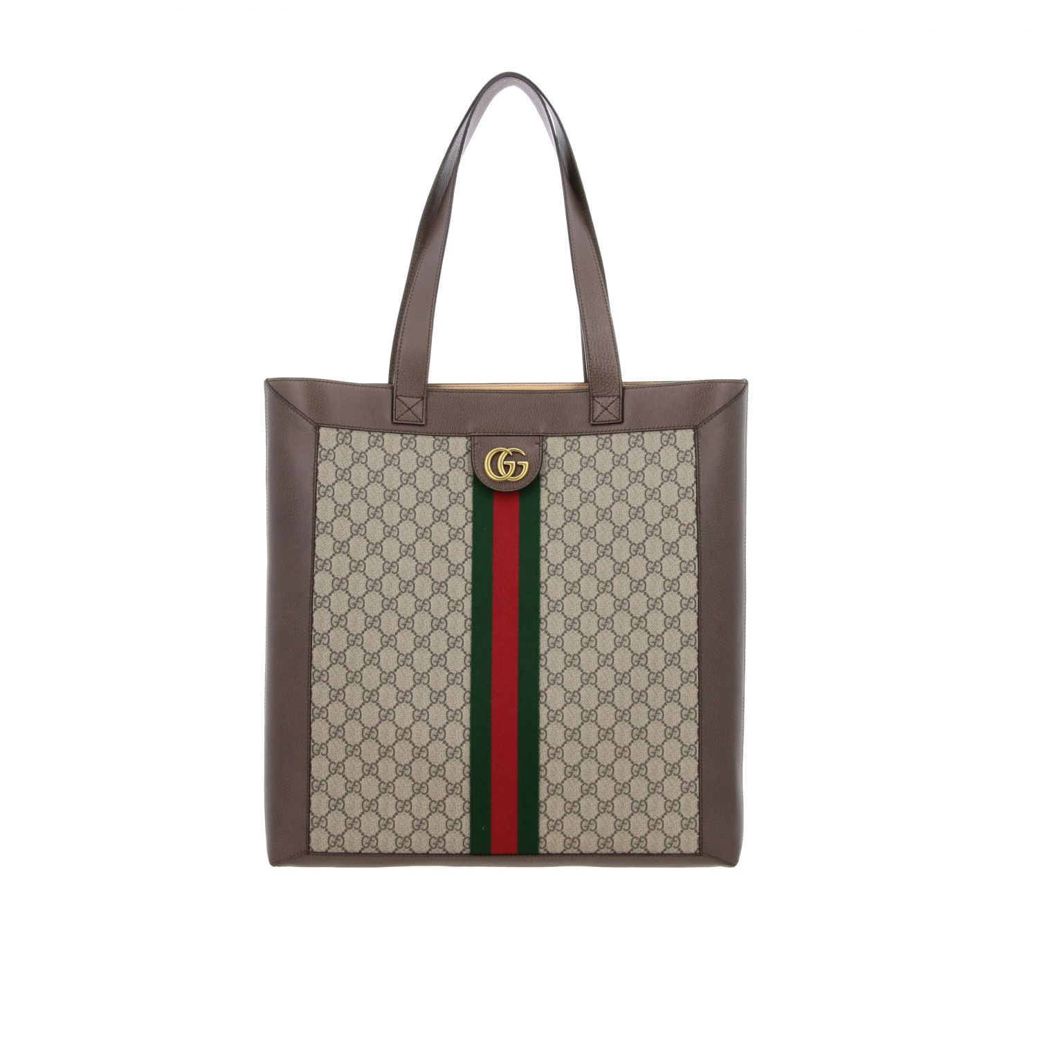 Borsa Ophidia shopping Gucci in pelle GG Supreme beige 1