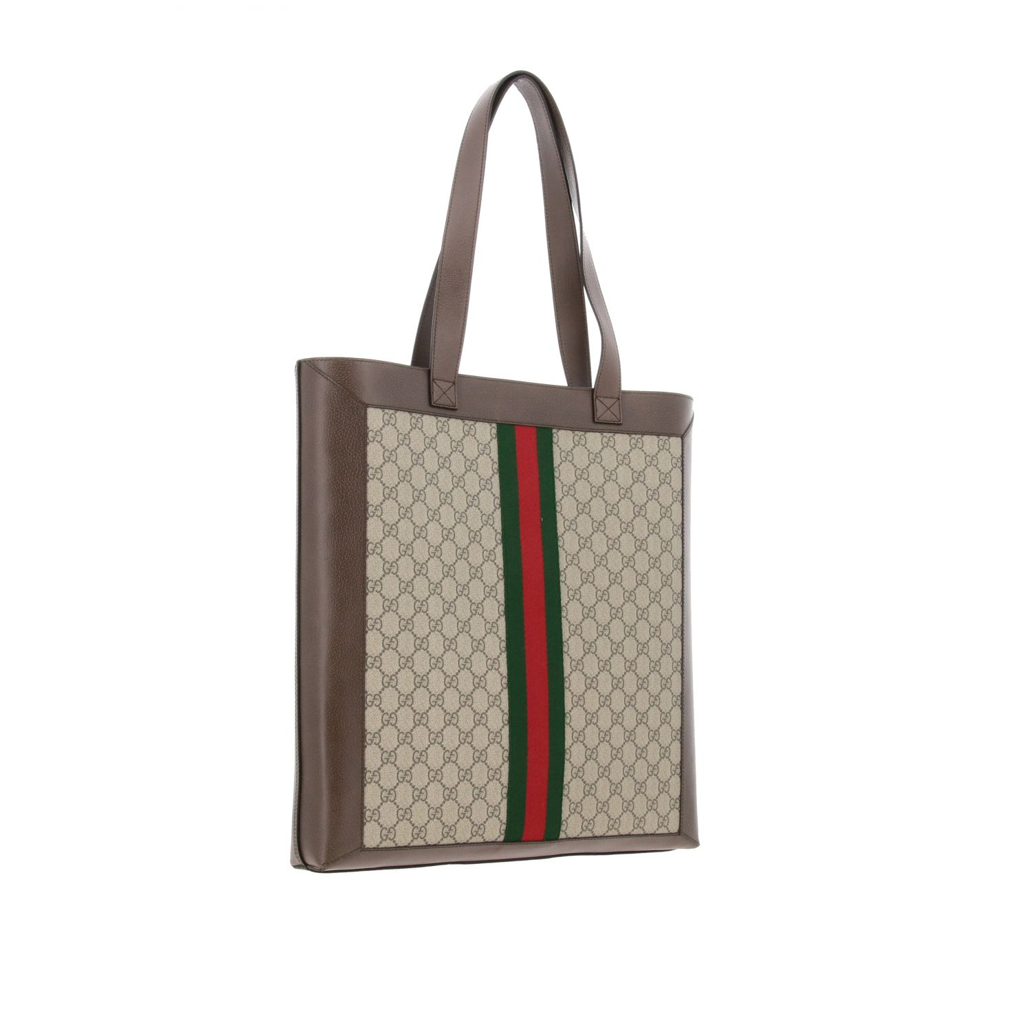 Borsa Ophidia shopping Gucci in pelle GG Supreme beige 2