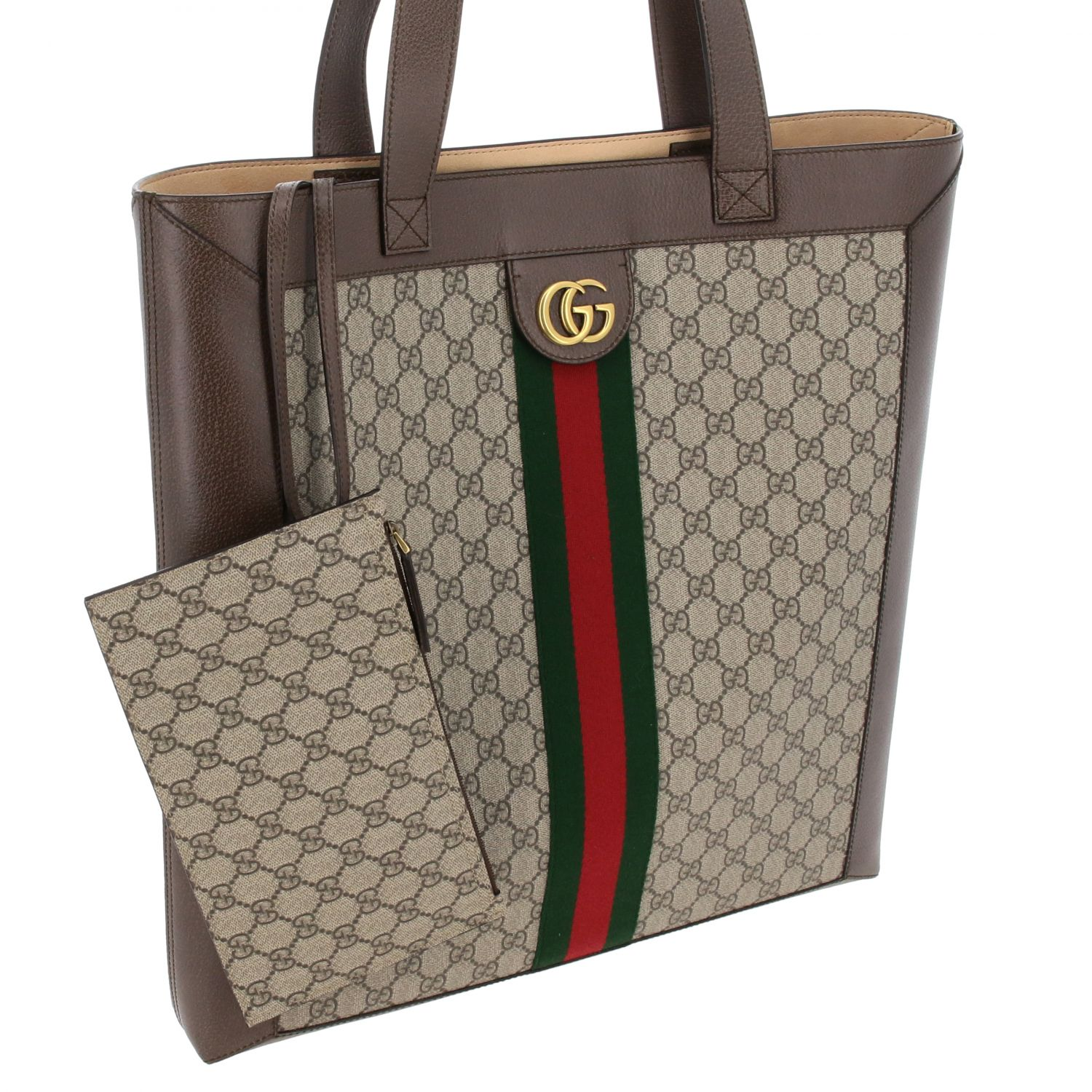 Borsa Ophidia shopping Gucci in pelle GG Supreme beige 3