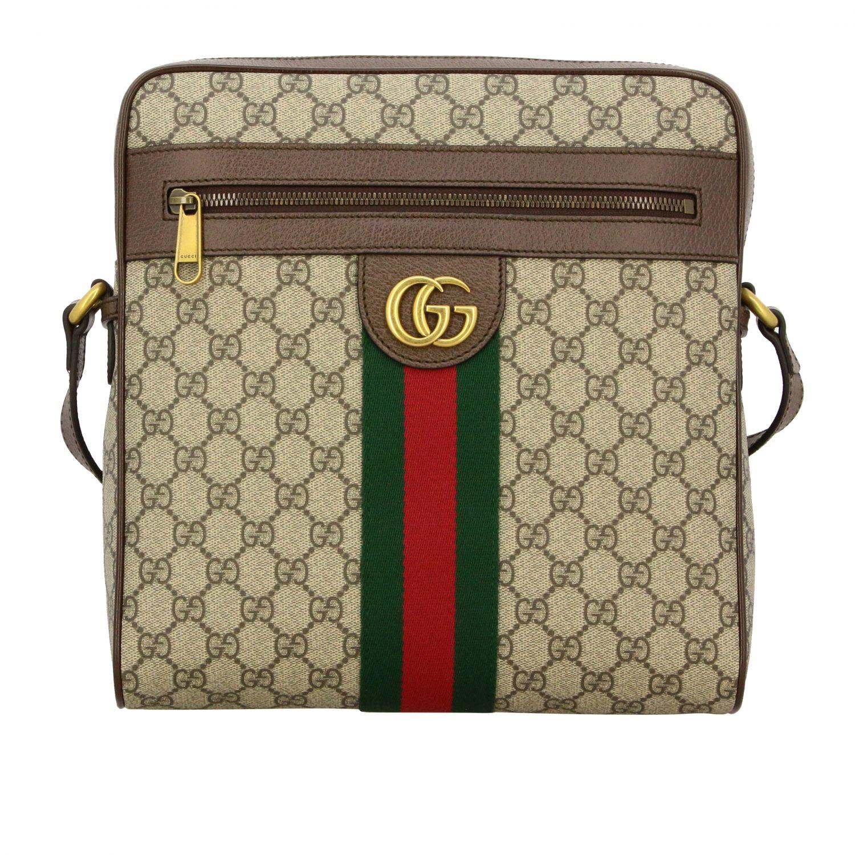 Borsello Ophidia Gucci in pelle GG Supreme con fascia Web beige 1