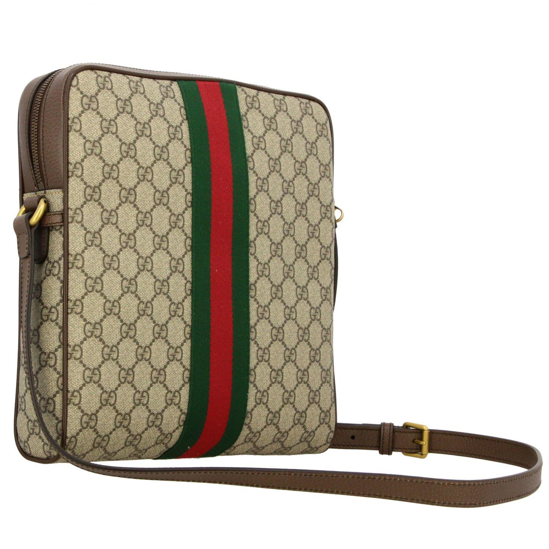 Borsello Ophidia Gucci in pelle GG Supreme con fascia Web beige 2
