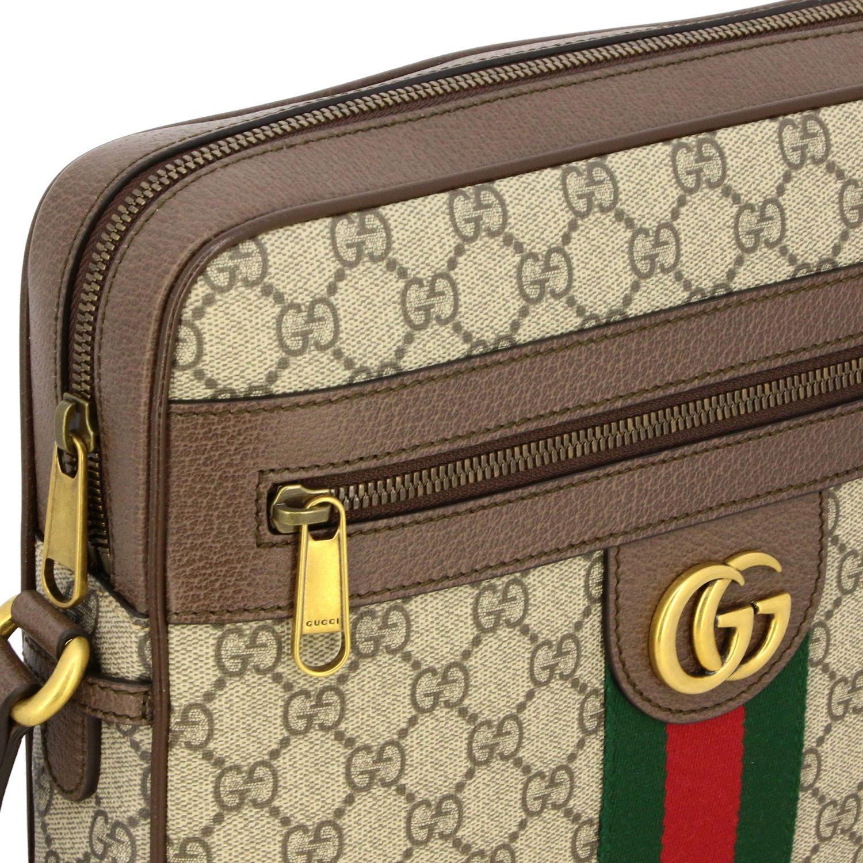 Borsello Ophidia Gucci in pelle GG Supreme con fascia Web beige 3