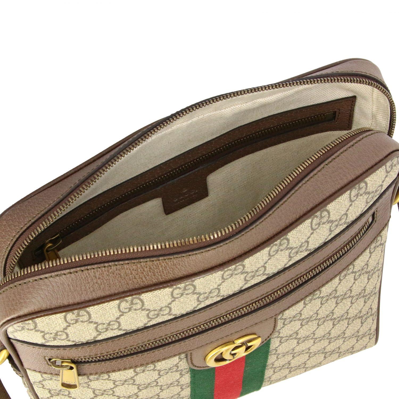 Borsello Ophidia Gucci in pelle GG Supreme con fascia Web beige 4