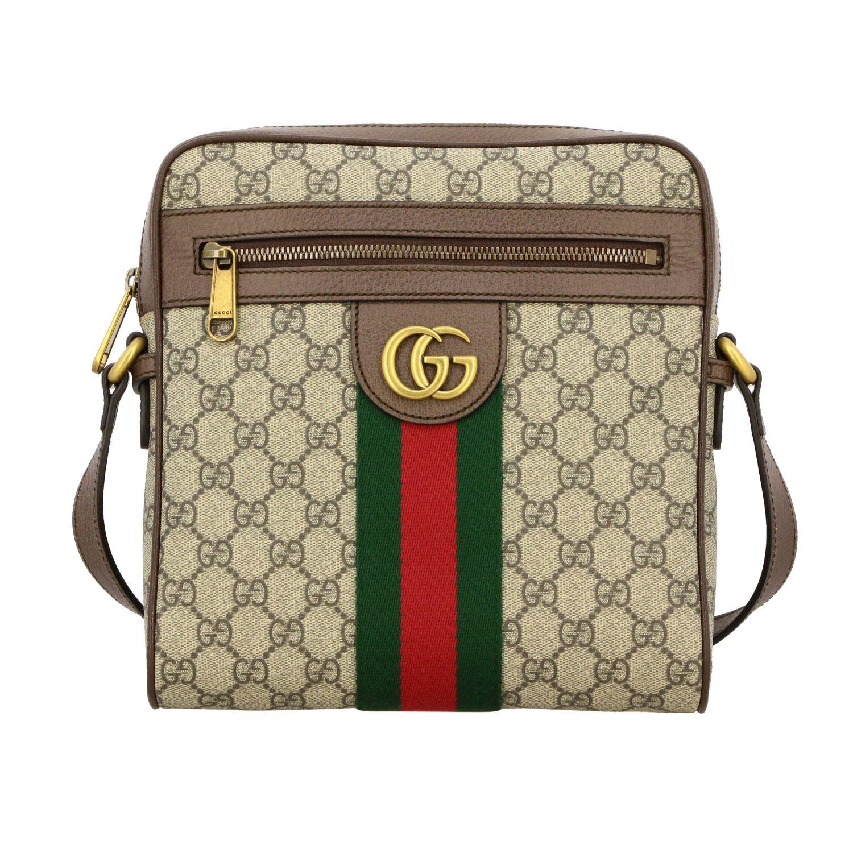 Bolso Ophidia de cuero GG Supreme Gucci con banda web beige 1