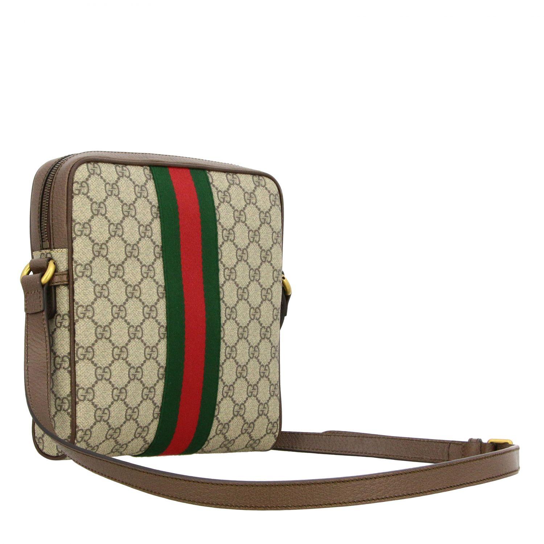 Bolso Ophidia de cuero GG Supreme Gucci con banda web beige 2