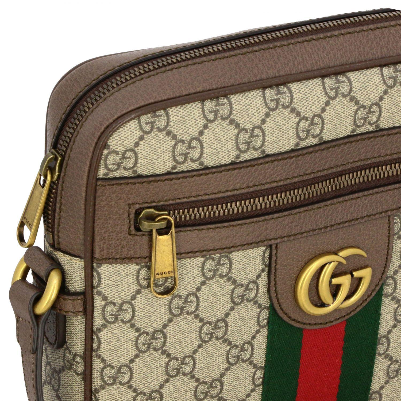 Bolso Ophidia de cuero GG Supreme Gucci con banda web beige 3