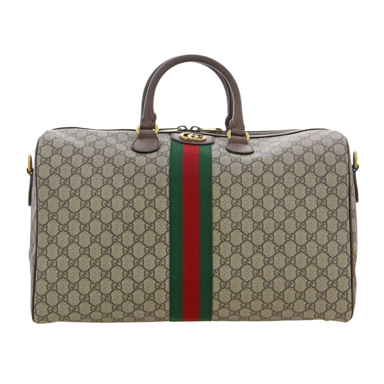 Портфель из кожи с логотипом Мужское Gucci бежевый 1