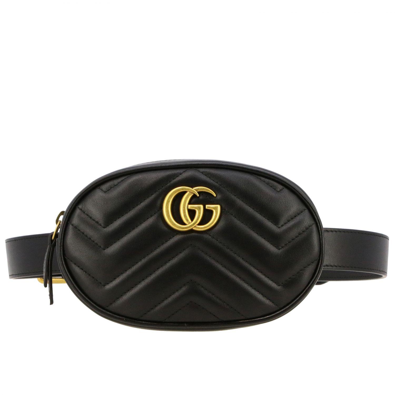 Marsupio GG Marmont Gucci in pelle chevron nero 1