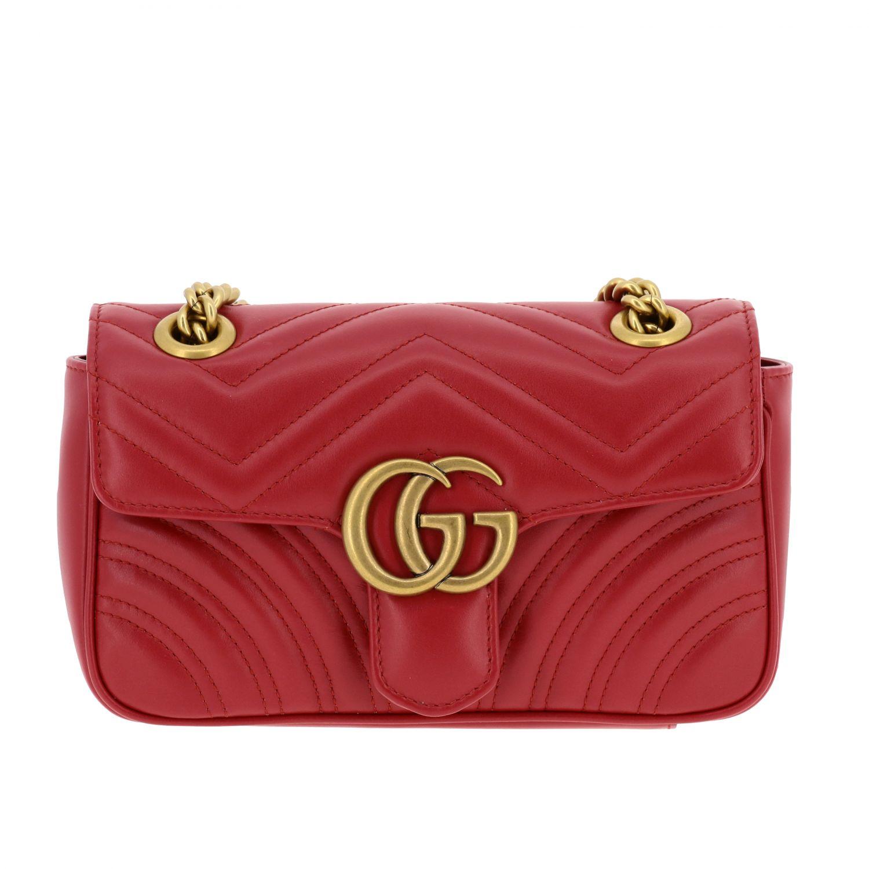 Borsa a tracolla Marmont Gucci in pelle chevron con monogramma rosso 1